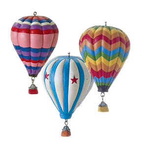 Set of 3 Polyresin Hot Air Balloon Ornaments