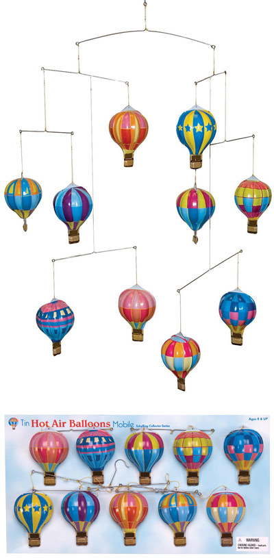 Tin Mobile with 10 Hot Air Balloons