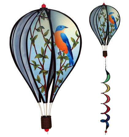 Bluebirds Spinning Hot Air Balloon With Tail