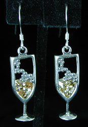 Sterling Silver with Crystal Champagne Glass Earrings