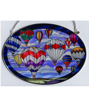 Large Oval Handpainted Glass Suncatcher