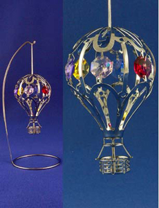 Chrome Plated Hot Air Balloon  Hanging Ornament with Stand