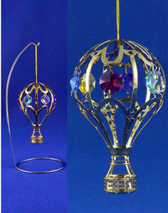 24k Gold Plated Hot Air Balloon Hanging Ornament With Stand