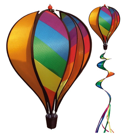 Orange and Multi Colored Panel Spinning Hot Air Balloon