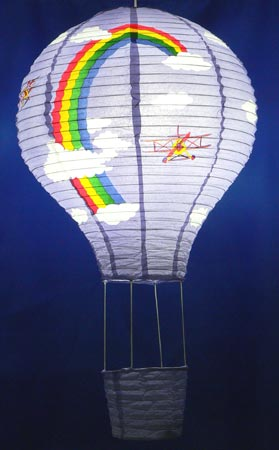 Rainbows Biplanes and Clouds Design Hot Air Balloon Oriental Pap