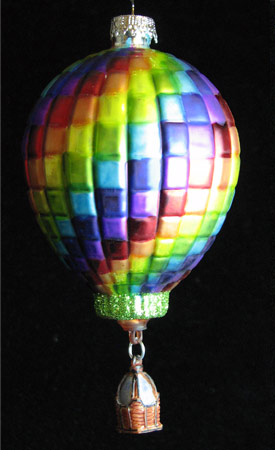 Rainbow Spiral Glass Hot Air Balloon Ornament