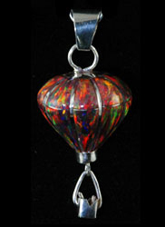 3-D Sterling Silver & Red Opal Pendant