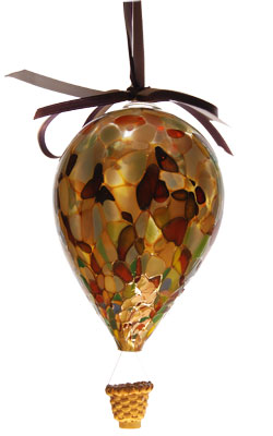 Sm. Gold & Brown Blown Glass Hot Air Balloon with Wicker Basket