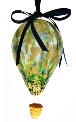 Sm. Green, White & Blue Blown Glass Hot Air Balloon with Wicker