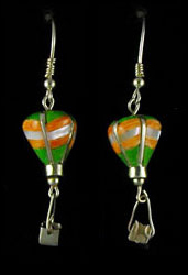 3-D Silver & Stone Inlaid Earrings