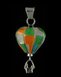 3-D Sterling Silver & Stone Inlaid Pendant